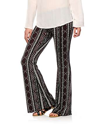 Lunachix Blackberry Linear Tribal Flared Pants