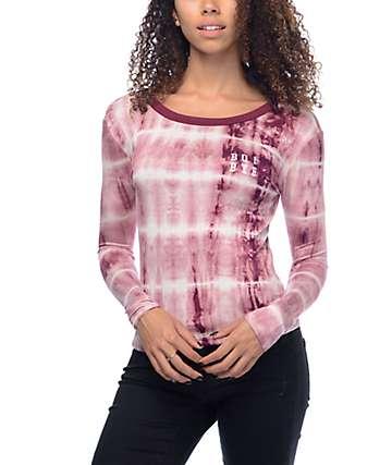 Lunachix Boi Bye Burgundy Tie Dye Long Sleeve Ringer T-Shirt