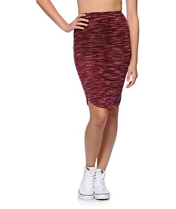 Lunachix Burgundy Midi Skirt
