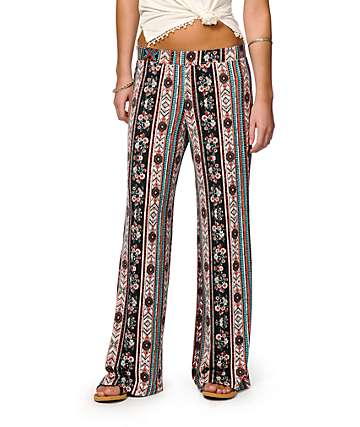 Lunachix Calico Linear Tribal Wide Leg Pants