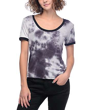 Lunachix Cool Scoop Neck Black Tie Dye Ringer T-Shirt