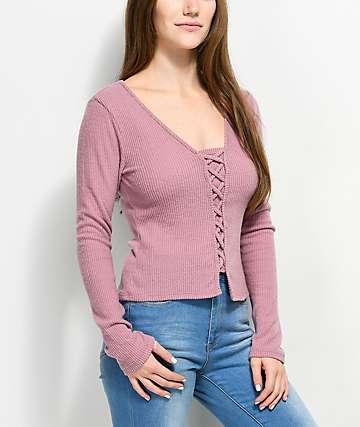 Lunachix Corey camiseta rosa con cordones