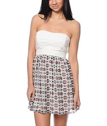 Lunachix Cream & Mint Tribal Print Strapless Dress