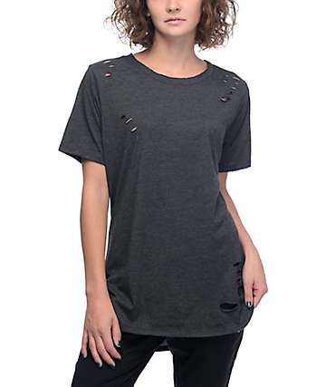 Lunachix Destructed Black Long T-Shirt