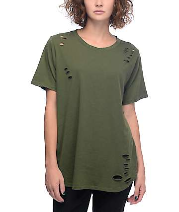 Lunachix Destructed Olive Long T-Shirt