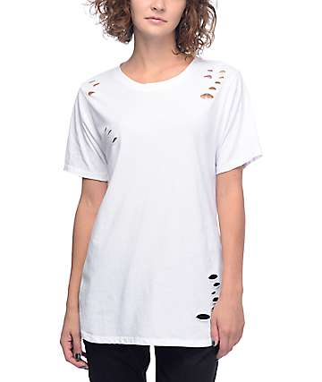 Lunachix Destructed White Long T-Shirt
