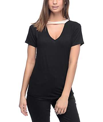 Lunachix Dillon V Neck Cut Out Black Top