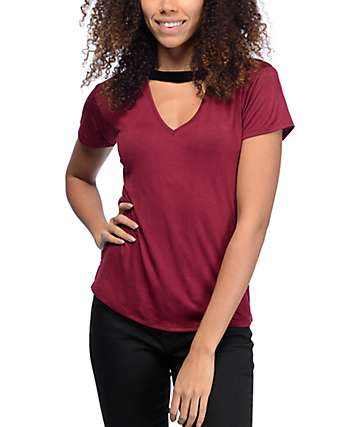 Lunachix Dillon V-Neck Cut Out Burgundy & Black Velvet Ringer T-Shirt