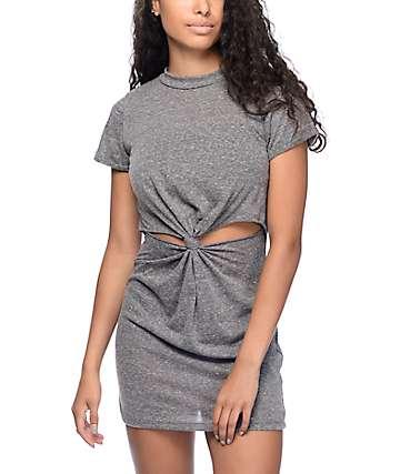 Lunachix Dina Knot Charcoal Front Knot Dress
