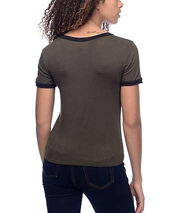 Lunachix Dreamcatcher Dark Olive Ringer T-Shirt
