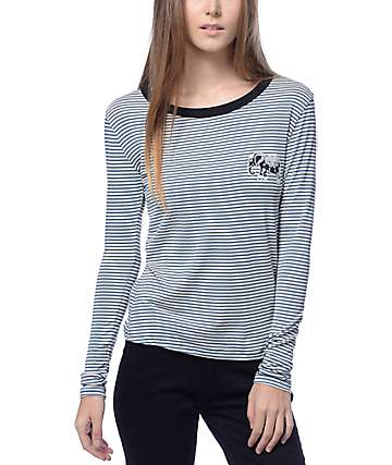 Lunachix Elephant Olive & Cream Stripe Long Sleeve Ringer T-Shirt