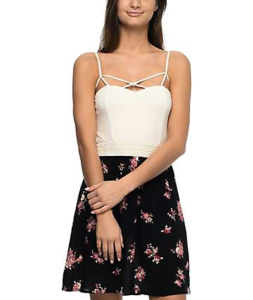 Lunachix Ella Cream & Black Floral Dress