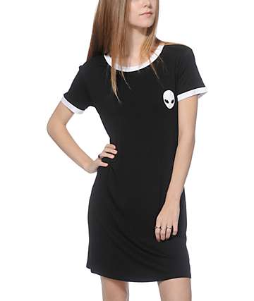Lunachix Erin Alien Black Ringer T-Shirt Dress