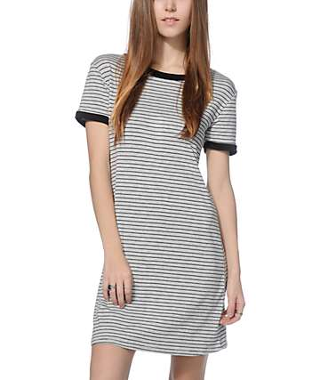 Lunachix Erin Black & Grey Stripe Ringer T-Shirt Dress