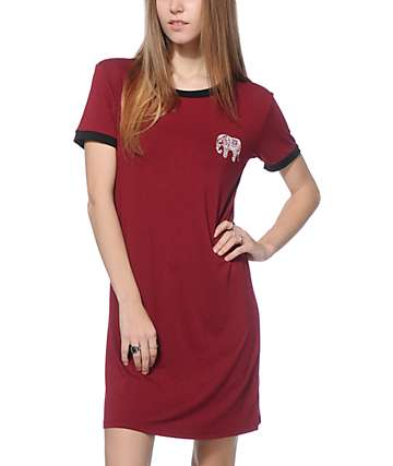 Lunachix Erin Elephant Burgundy Ringer T-Shirt Dress