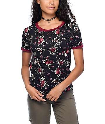 Lunachix Floral Print Black & Burgundy Ringer T-Shirt