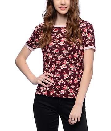 Lunachix Floral Print Burgundy & Mauve Ringer T-Shirt