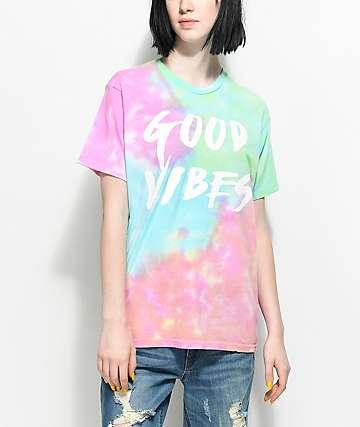 Lunachix Good Vibes Rainbow camiseta con efecto tie dye