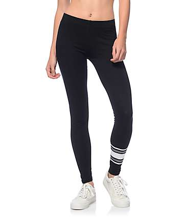 Lunachix Grey & White Striped Black Leggings