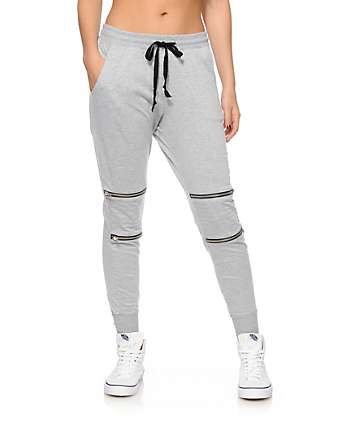 Lunachix Grey Moto Zip Jogger Pants