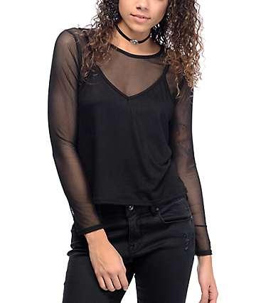 Lunachix Holli 2fer camiseta negra de malla