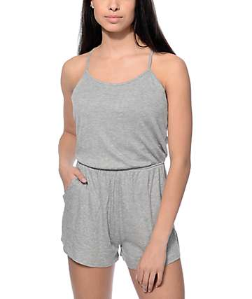 Lunachix Jack Grey Ribbed Knit Romper