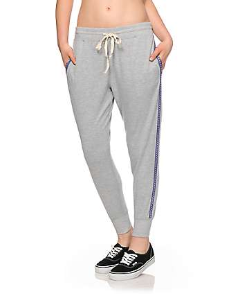 Lunachix Jacquard Tape Grey Jogger Pants