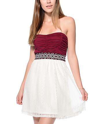 Lunachix Jana Burgundy Cream Tribal Tape Tube Dress