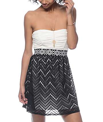 Lunachix Jana Cream & Black Chevron Tube Dress
