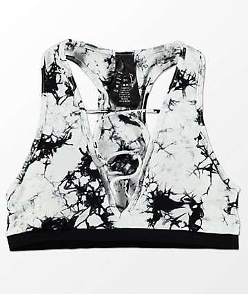 Lunachix Jess bralette con efecto tie dye en blanco y negro