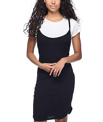 Lunachix Jessa Ribbed 2Fer vestido camiseta en negro