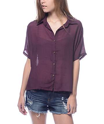 Lunachix Josie Burgundy Button Up Woven Shirt