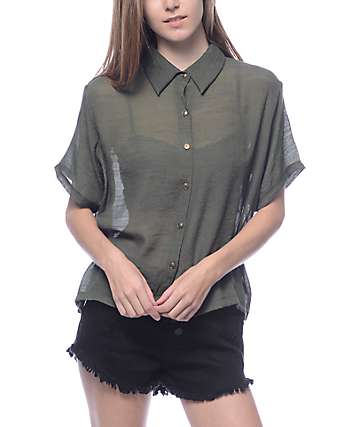 Lunachix Josie Olive Button Up Woven Shirt