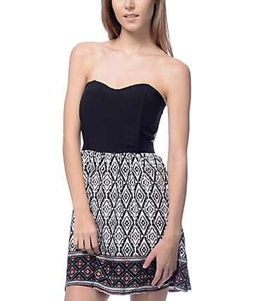 Lunachix Juno Black & White Tribal Strappy Tube Dress