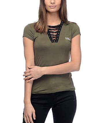 Lunachix Kara Cool Lace Up Olive Deep-V T-Shirt