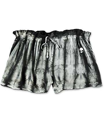 Lunachix Karen Alien Embroidered Black & White Tie Dye Shorts