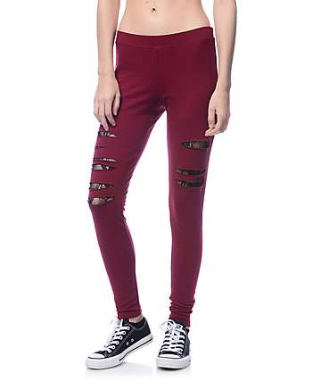 Lunachix Karen Slash Lace Burgundy Leggings