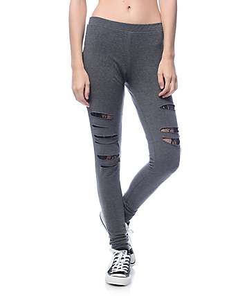 Lunachix Karen Slash Lace Charcoal Leggings