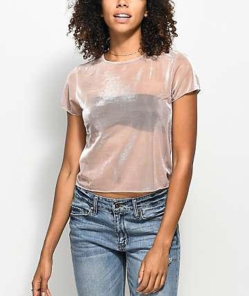 Lunachix Karen camiseta rosa de malla metálica