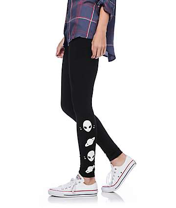 Lunachix Keep Weird Alien Black Leggings