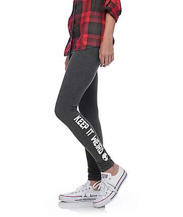 Lunachix Keep Weird Alien Charcoal Leggings