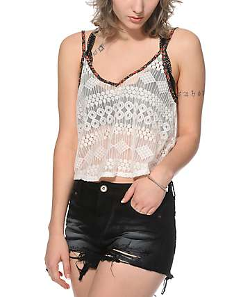 Lunachix Kimmi Lace Crop Tank Top