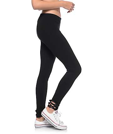 Lunachix Kyla Black Lace Up Side Leggings