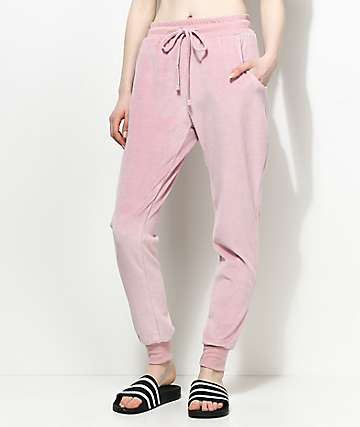 Lunachix Kylie pantalones jogger de terciopelo rosa