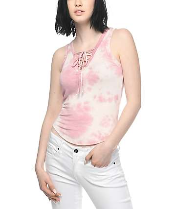 Lunachix Lara Pink Tie Dye Lace Up Tank Top