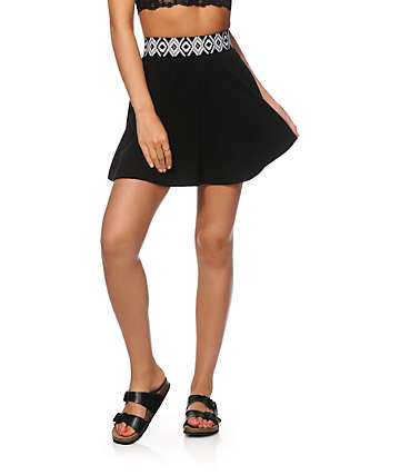 Lunachix Lexi Black Tribal Waist Skater Skirt