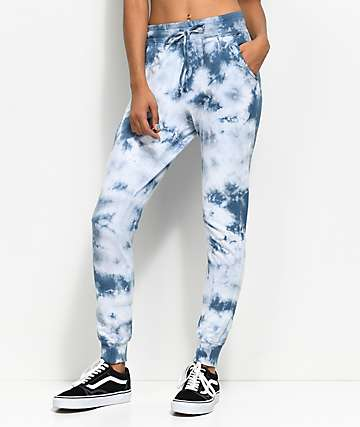 Lunachix Light Blue Tie Dye Jogger Sweatpants