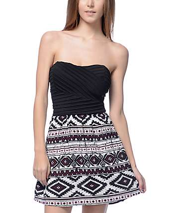 Lunachix Lila Black Bodice & Black Multi Tube Dress