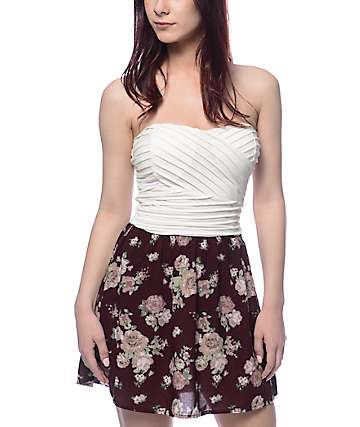 Lunachix Lila Cream Bodice Burgundy Floral Tube Dress