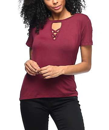 Lunachix Luca Lace Up Burgundy Choker Top